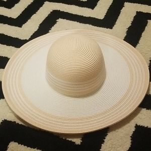 Pink and white paper straw wide brim hat